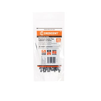 Crescent Cable Ties Black 100mm X 2.5mm - 25 Pack