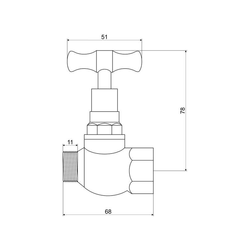 "Mildon T Head Stop Cock Male & Female Brass 1/2"" (15mm)"