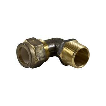 Brasshards Elbow Nylon Olive Compression Brass 20mm Male x 20mm Compression