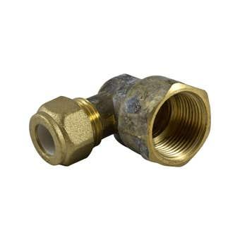 Brasshards Elbow Nylon Olive Compression Brass 20mm Female x 15mm Compression