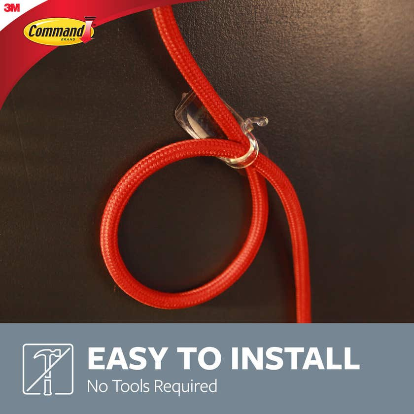 Command Cord Hooks Clear Small - 8 Pack
