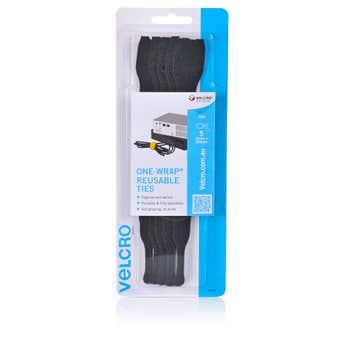 Velcro Reusable Ties Black 200mm - 5 Pack