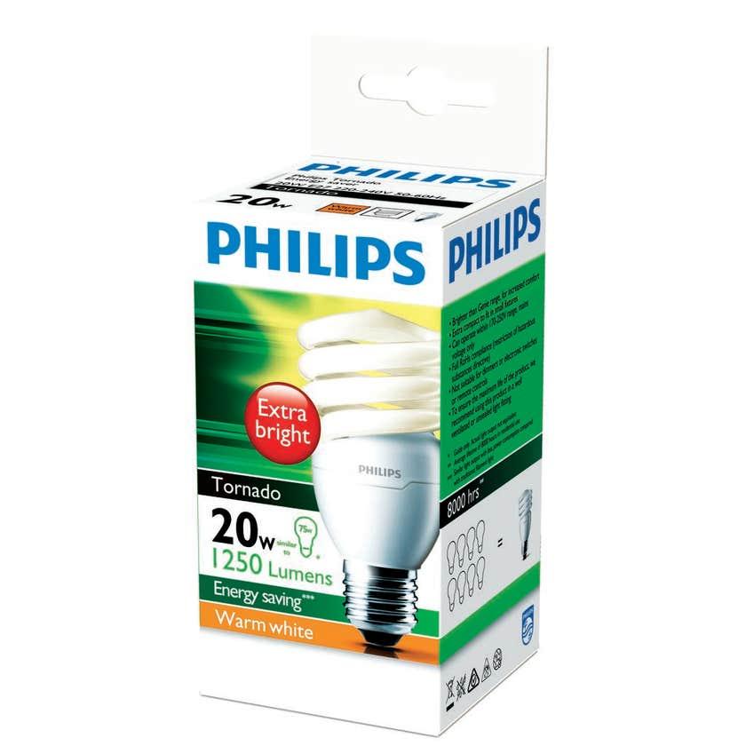 Philips Tornado Globe CFL 20W ES Warm White