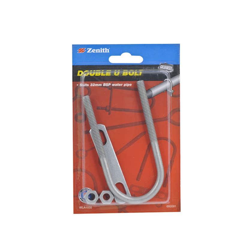 Zenith Double U Bolt Galvanised 32mm - 1 Pack