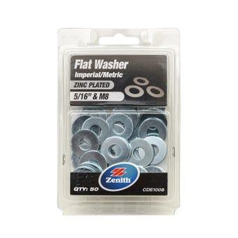 "Zenith Flat Washers Zinc Plated 5/16"" M8 - 50 Pack"