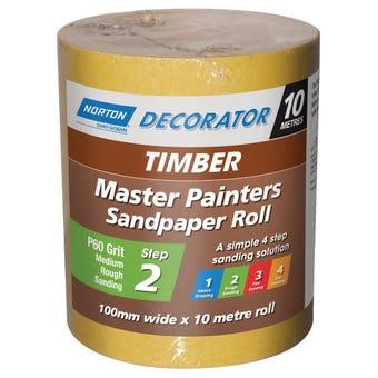 Norton Painters Sandpaper Roll P60 Grit 100mm x 10m