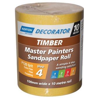 Norton Painters Sandpaper Roll P120 Grit 100mm x 10m