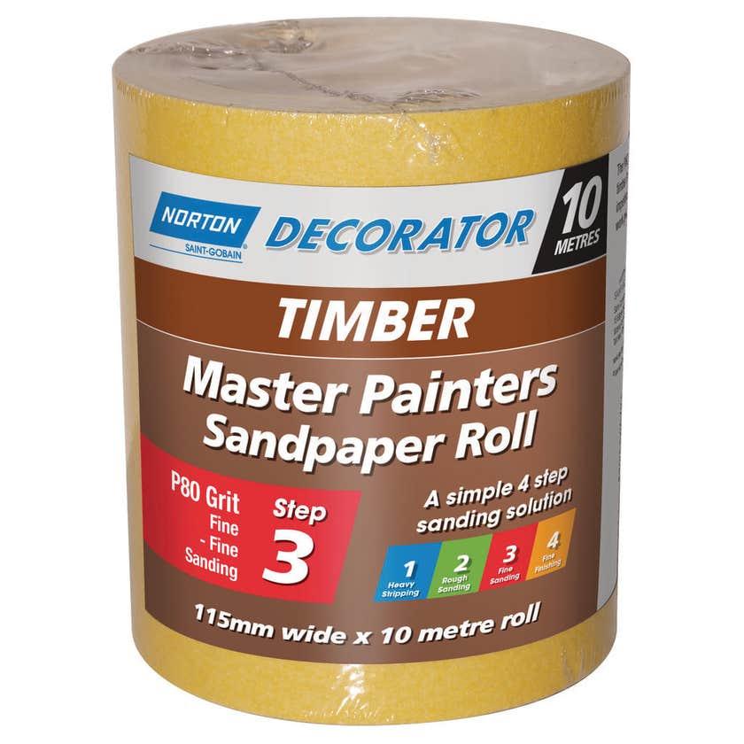Norton Painters Sandpaper Roll P80 Grit 115mm x 10m