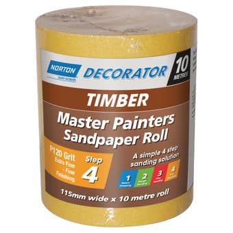 Norton Painters Sandpaper Roll P120 Grit 115mm x 10m