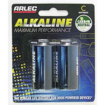 Arlec 1.5V C Alkaline Battery - 2 Pack