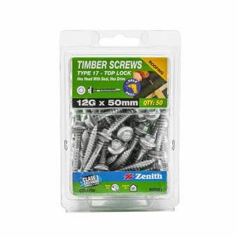 Zenith Timber Screws Hex Top Lock Galvanised 12G x 50mm - 50 Pack