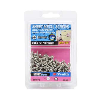 Zenith Self Tapping Screws Pan Head Stainless Steel 8G x 12mm - 100 Pack