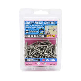Zenith Self Tapping Screws Pan Head Stainless Steel 8G x 25mm - 100 Pack