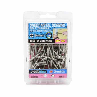Zenith Self Tapping Screws Pan Head Stainless Steel 8G x 30mm - 100 Pack