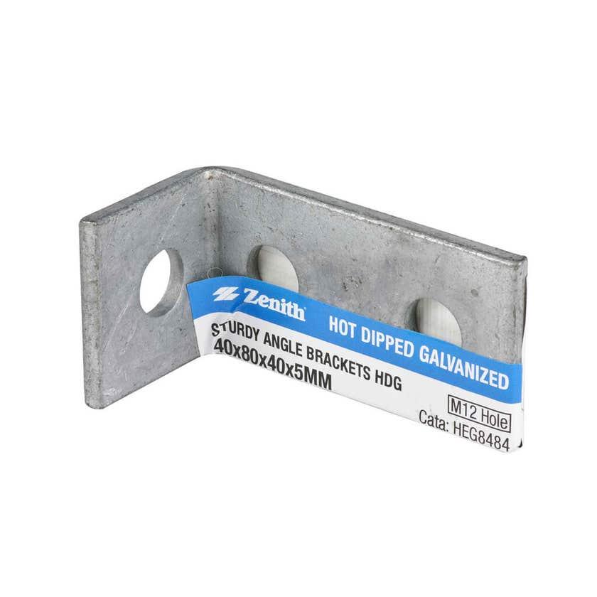 Zenith Sturdy Angle Bracket Galvanised 40 x 80 x 40 x 5mm - 1 Pack