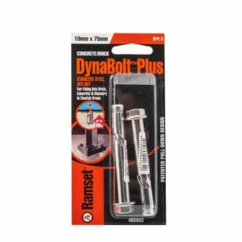 Ramset Dynabolt Plus Hex Head Stainless Steel 10 x 75mm - 2 Pack