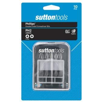 Sutton Tools Phillips Double Ended Screwdriver Bit Set PH2 x45mm - 10 Piece