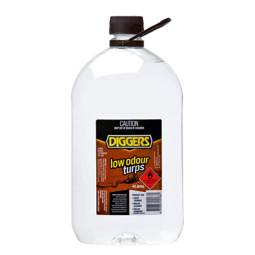 Diggers Low Odour Mineral Turpentine 4L