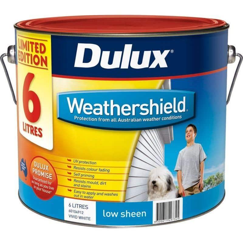 Dulux Weathershield Exterior Low Sheen White Base 6L
