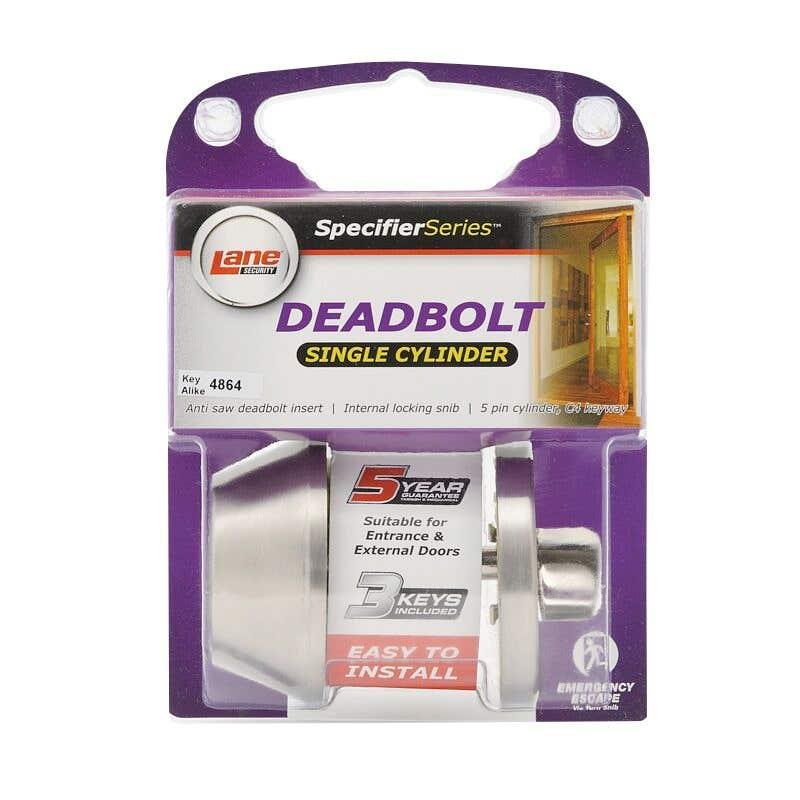 Lane Standard Round Deadbolt Single Cylinder Satin Stainless Steel