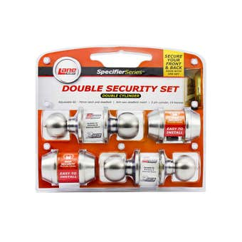 Lane Parma Double Security Knob Set Satin Stainless Steel