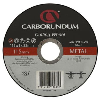 Carborundum Metal Cut-Off Wheel 115 x 1 x 22mm - 10 Pk