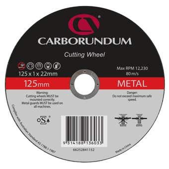 Carborundum Metal Cut-Off Wheel Ultra Thin 125 x 1 x 22mm - 10 Pk