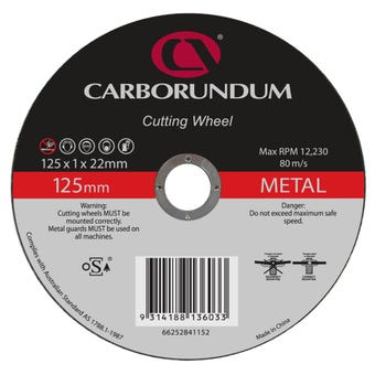 Carborundum Metal Cut-Off Wheel Ultra Thin 125 x 1 x 22mm  - 10 Pk
