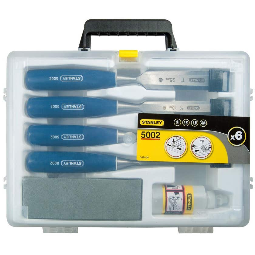 Stanley Chisel Set With Oil Stone - 6 Piece