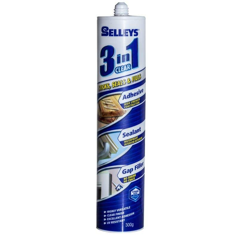 Selleys 3 In 1 Adhesive Fill Sealant Clear 300g