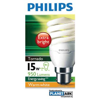 Philips Tornado Globe CFL 15W BC Warm White