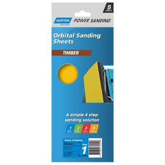 Norton Timber Orbital Sanding Sheet 115 x 280mm P40 Grit - 5 Pack