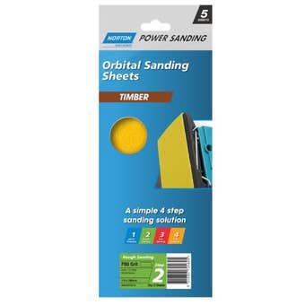 Norton Wood Orbital Sanding Sheet 115 x 280mm P80 Grit - 5 Pack
