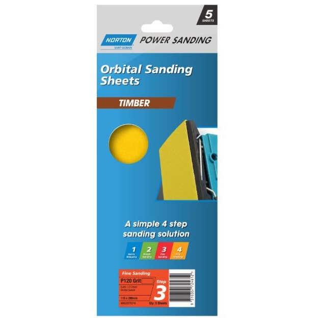 Norton Timber Orbital Sanding Sheet 115 x 280mm P120 Grit - 5 Pk