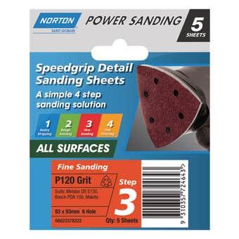 Norton Sanding Sheet 93 x 93mm x 6H P120 Grit - 5 Pack