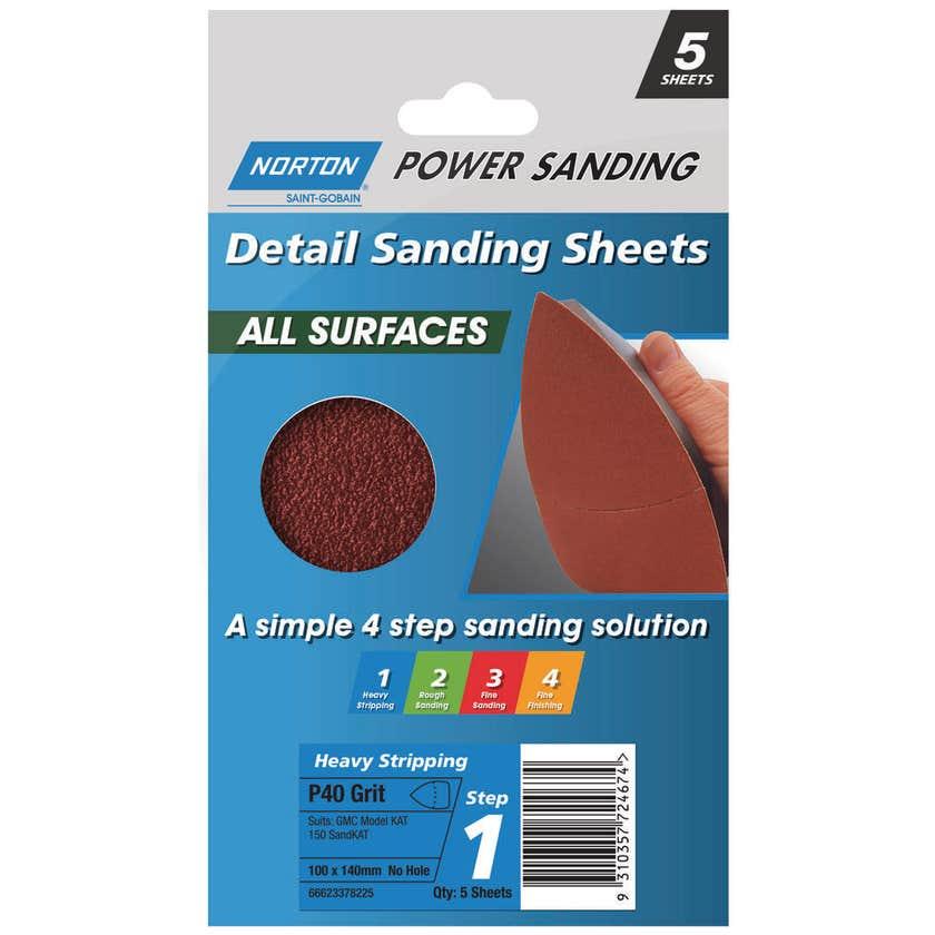 Norton All Surface Detail Sanding Sheet  Very Coarse 100 x 140mm P40 Grt - 5 Pk