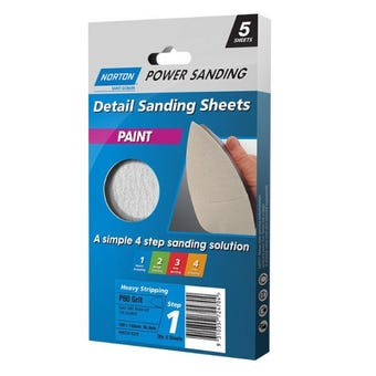 Norton Paint Sanding Sheet 100 x 140mm P80 Grit - 5 Pk