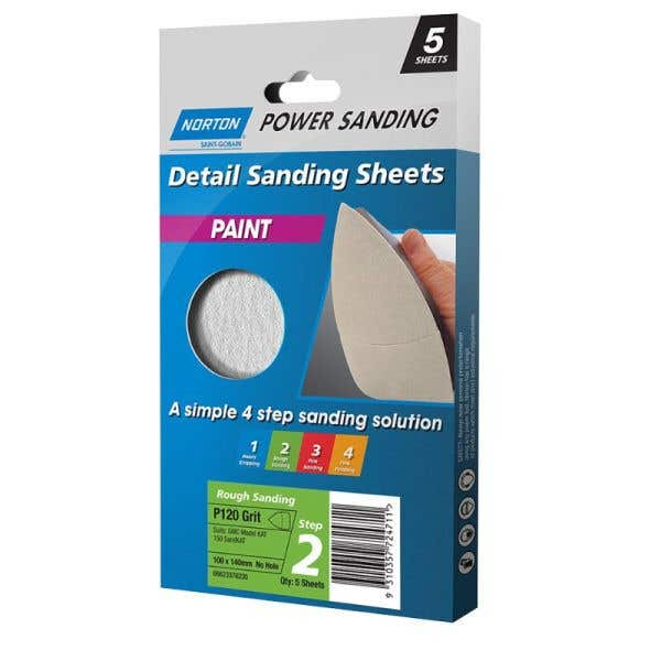 Norton Paint Sanding Sheet 100 x 140mm P120 Grit - 5 Pk