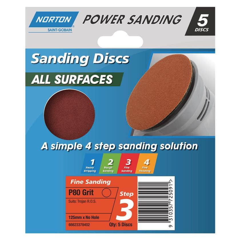 Norton Disc Sanding Sheet 125mm P80 Grit - 5 Pk