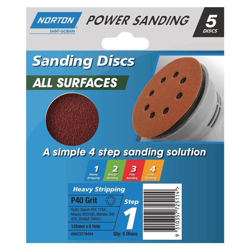 Norton Sanding Disc 125mm x 8H P40 Grit - 5 Pk