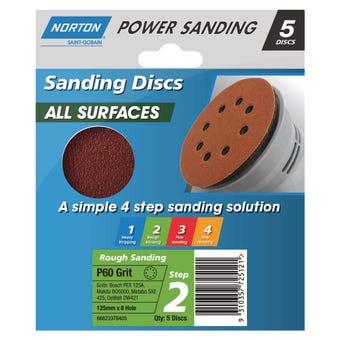 Norton All Surface Discs 125mm x 8H - 5 Pk