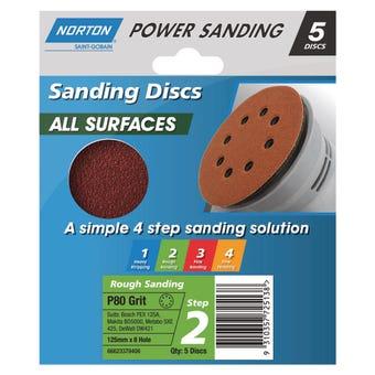 Norton Sanding Disc 125mm x 8H P80 Grit - 5 Pk