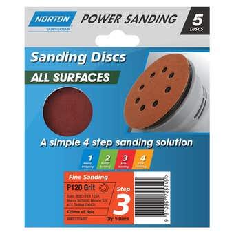Norton Speedgrip Disc 125mm x 8H Step 3 P120 Grit - 5 Pack