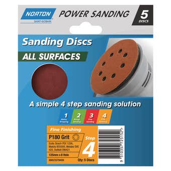 Norton Speedgrip Disc 125mm x 8H Step 4 P180 Grit - 5 Pack
