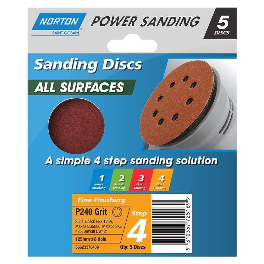 Norton Sanding Discs 125mm x 8H P240 Grit - 5 Pk