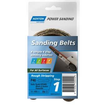 Norton Sanding Belt Powerfile 13 x 455mm - 3 Pk