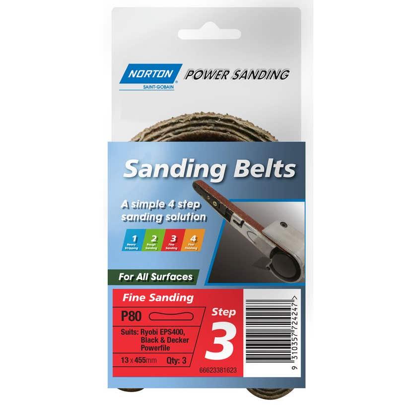 Norton Belt Powerfile Medium 13 x 455mm P80 Grit - 3 Pk