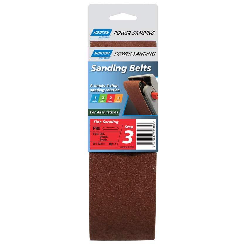 Norton Cloth Sanding Belt 75 x 533mm P80 Grit - 2 Pk