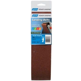 Norton Cloth Sanding Belt 75 x 610mm P40 Grit - 2 Pk
