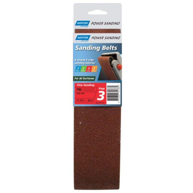 Norton Cloth Sanding Belt 75 x 610mm P80 Grit - 2 Pk